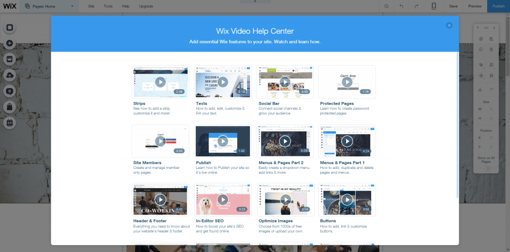 Wix support videos