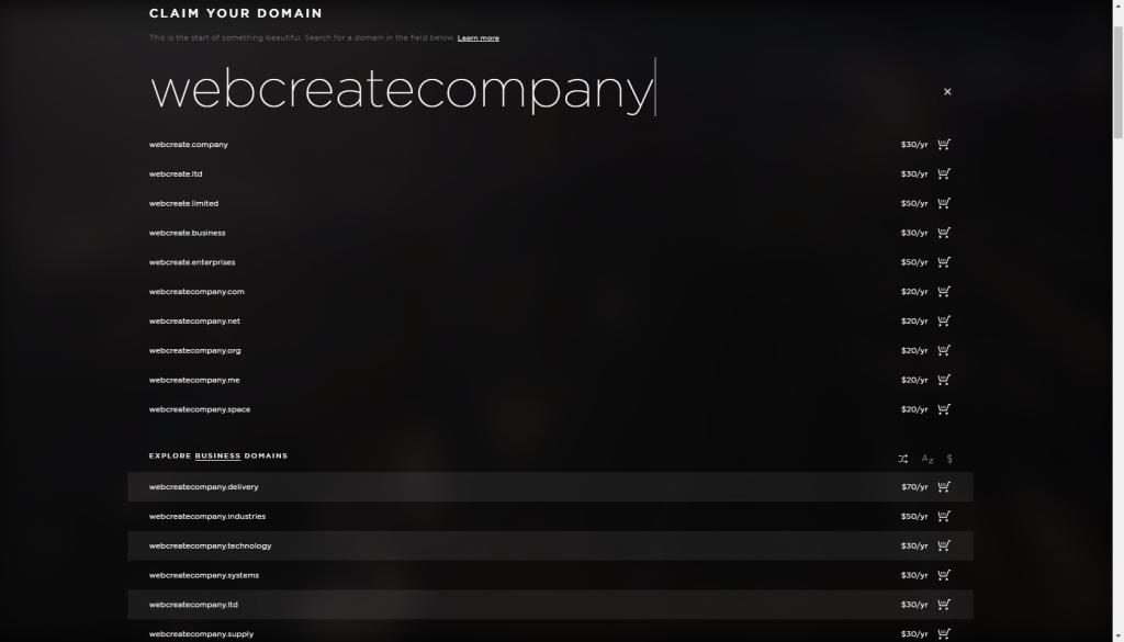 Squarespace domains
