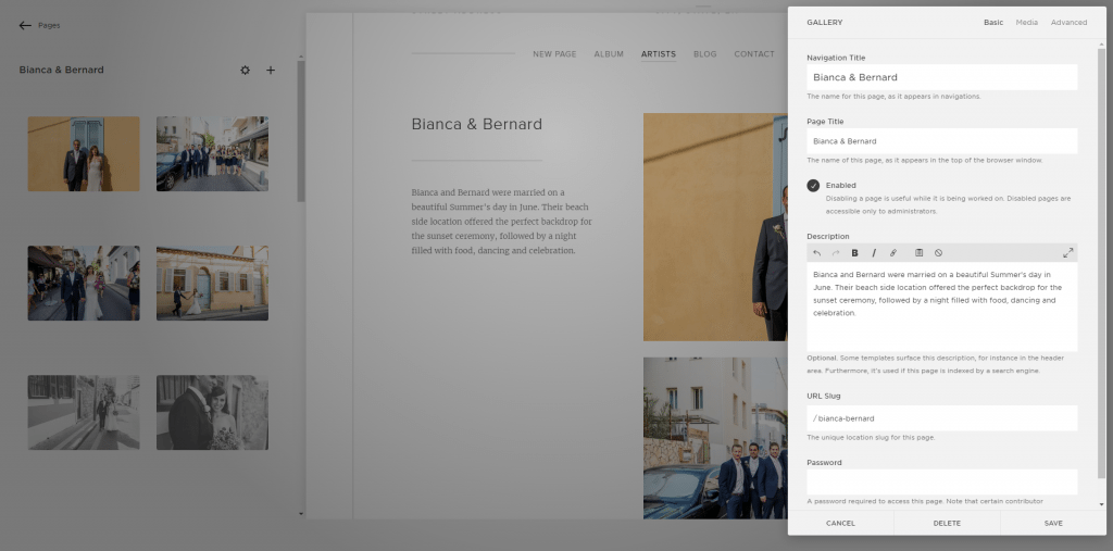 Squarespace gallery page edited