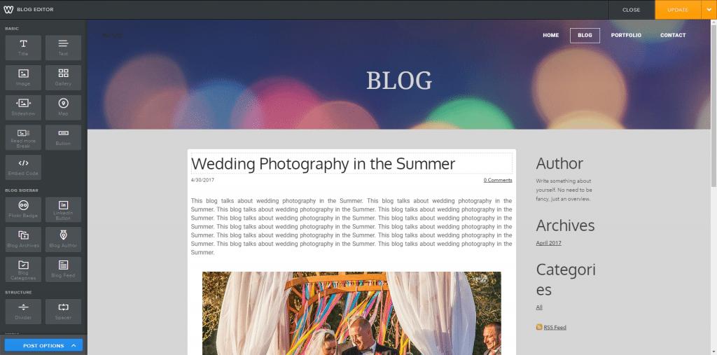 Weebly editor - blog
