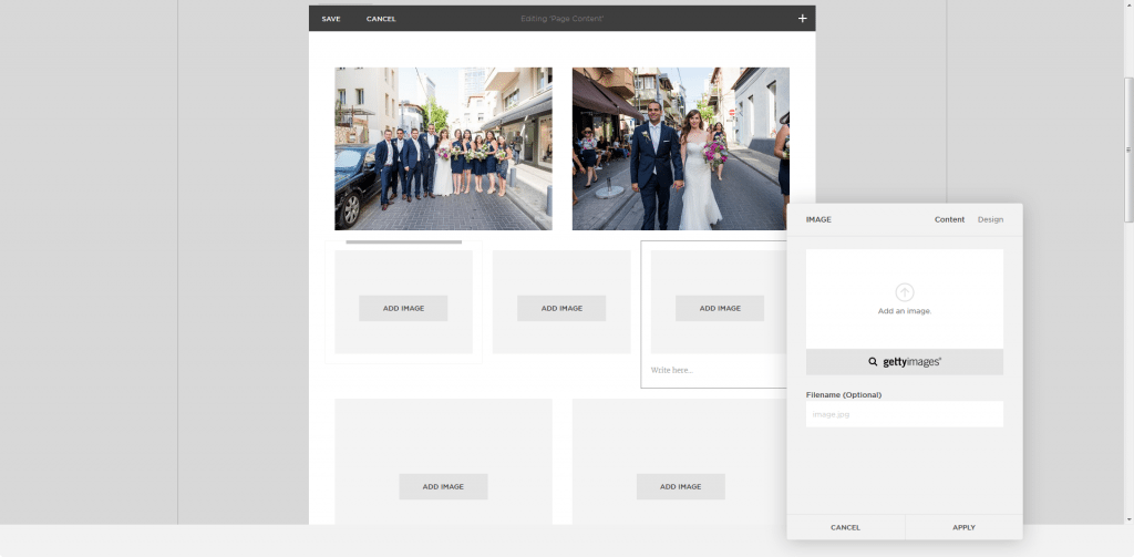 Squarespace editor gallery