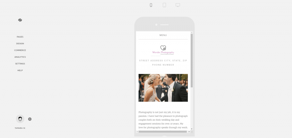 Squarespace mobile view in editor
