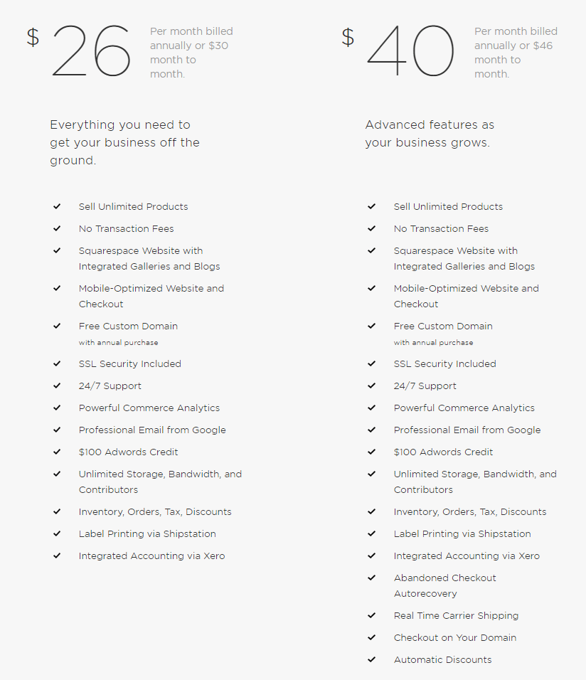 Squarespace pricing eCommerce