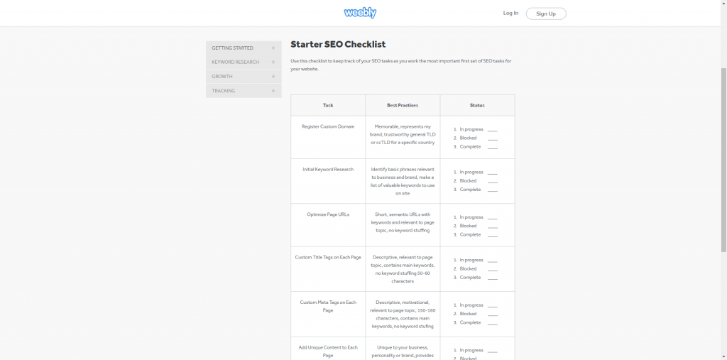 Weebly seo checklist