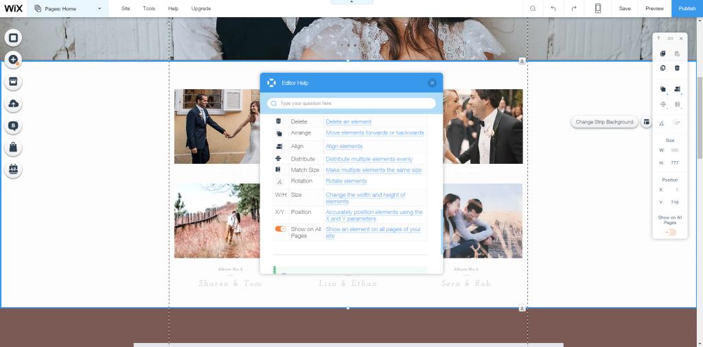 Wix editor toolbar