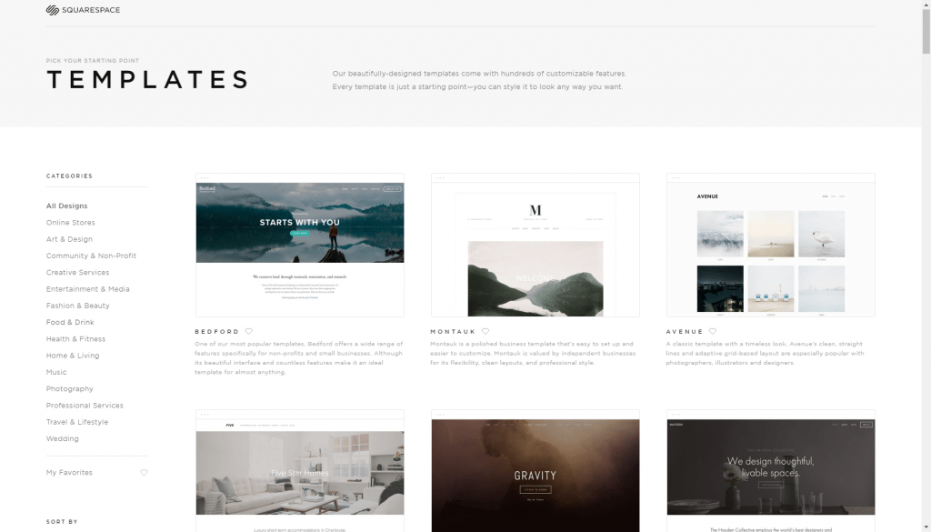 Squarespace templates library
