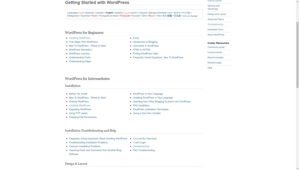 Wordpress - support documentation