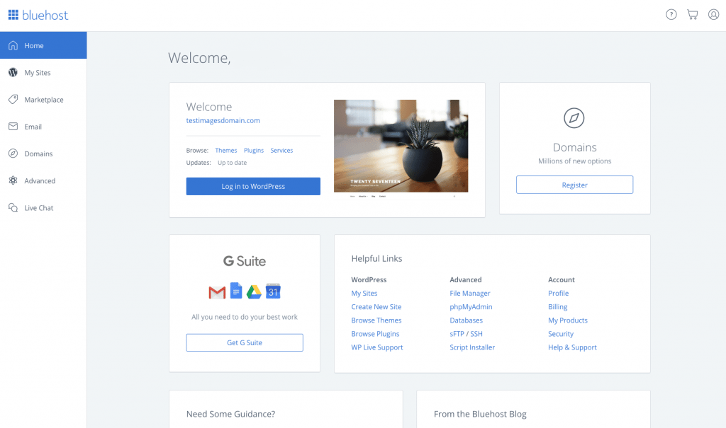 Bluehost User Interface