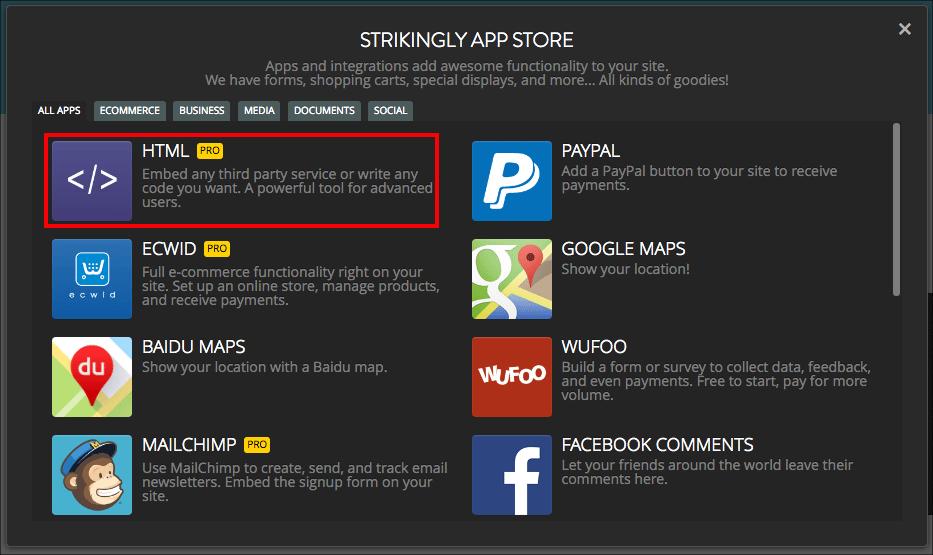 Strikingly Apps