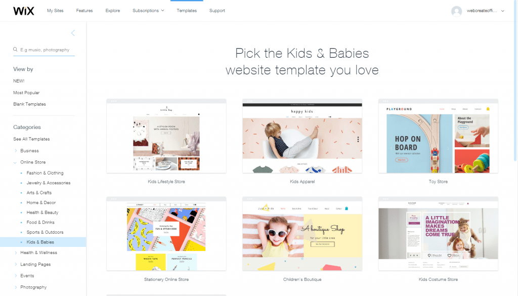 WixStores templates
