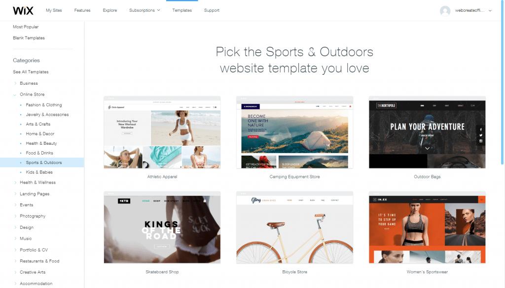 Wix eCommerce templates