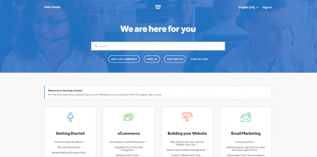 Weebly's help center
