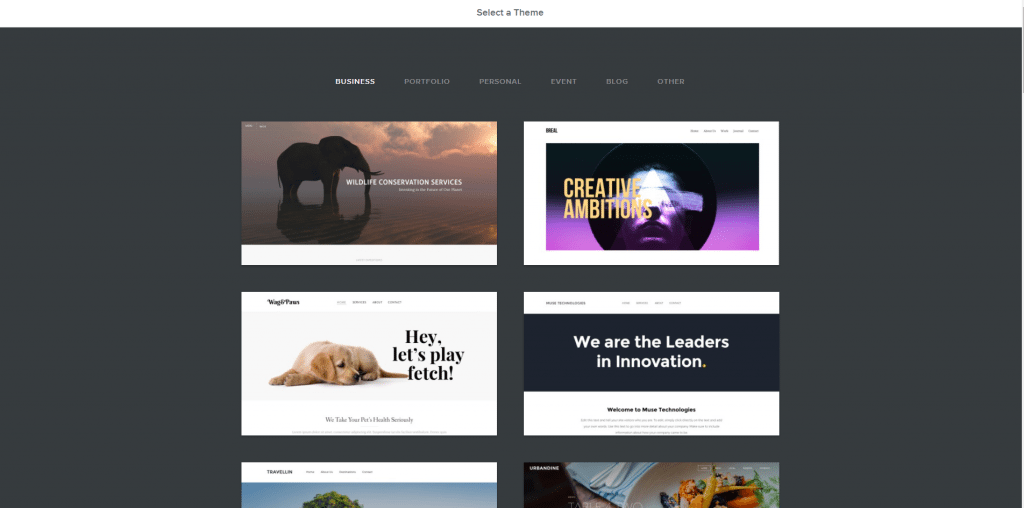 Weebly's themes
