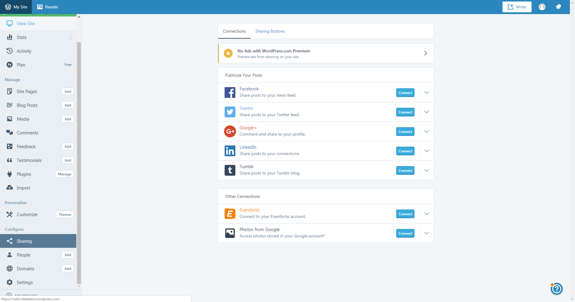 WordPress.com Sharing tools