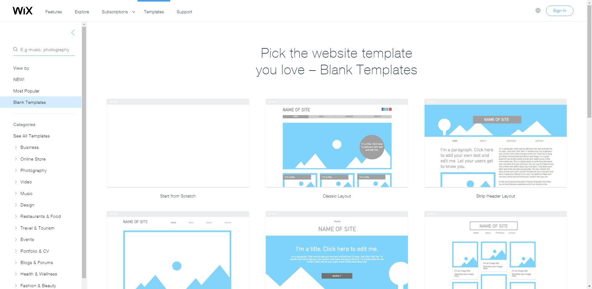 Wix Blank Canvas Templates