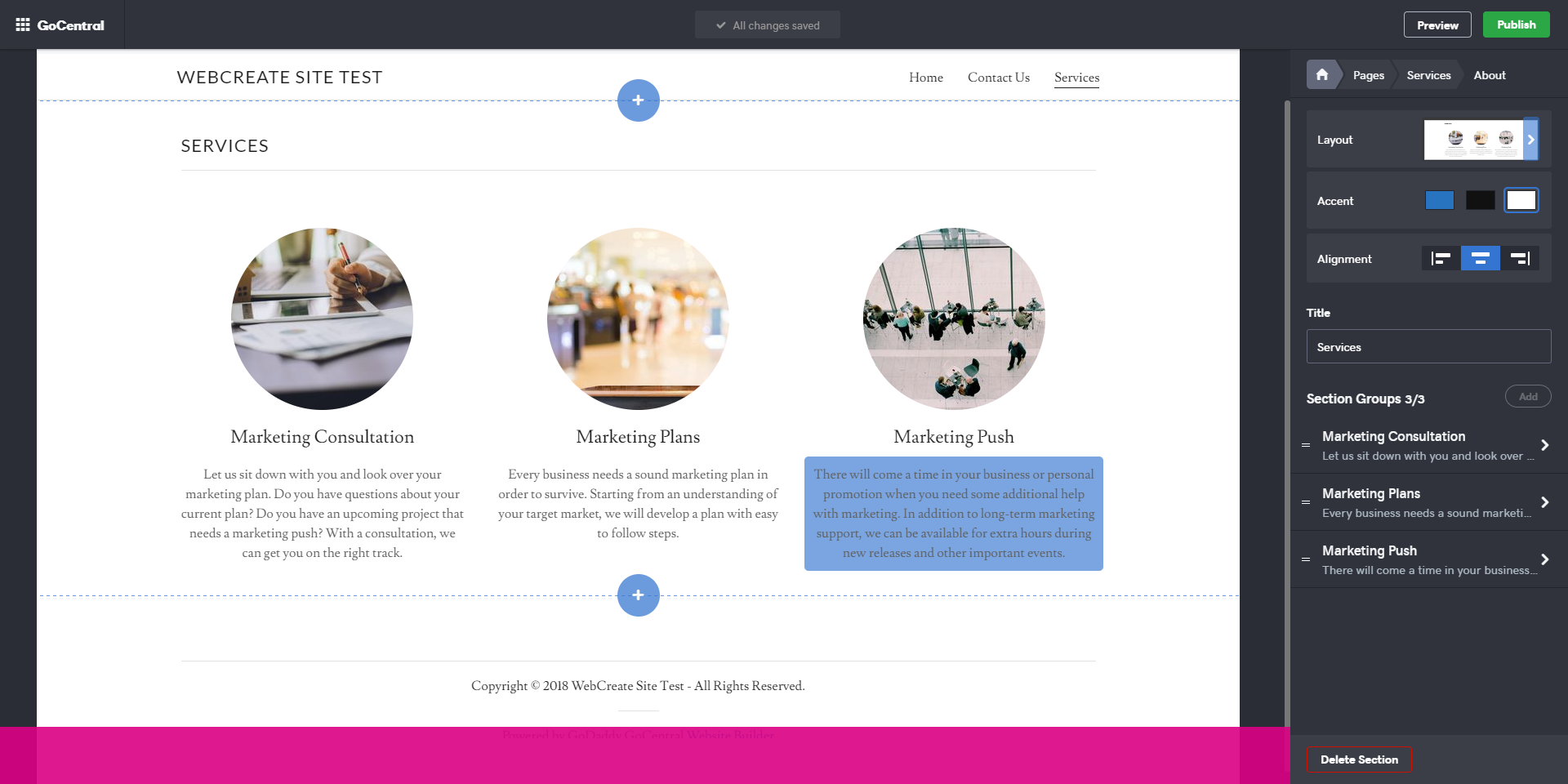 GoDaddy Website Editor