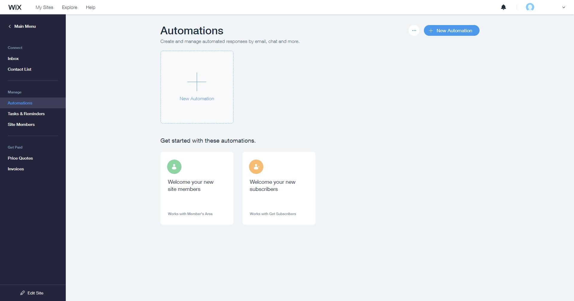 Wix Ascend automations