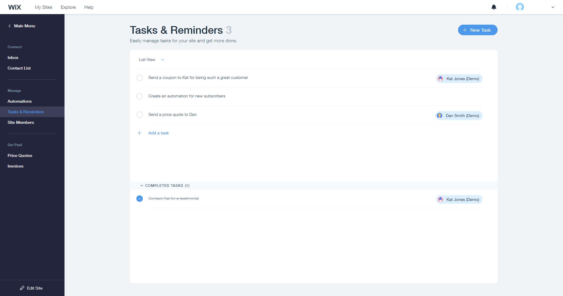 Wix Ascend tasks reminders