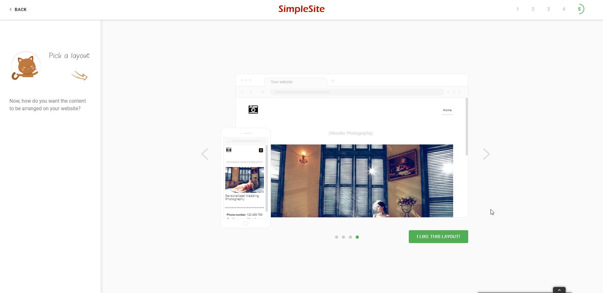 simplesite website layout