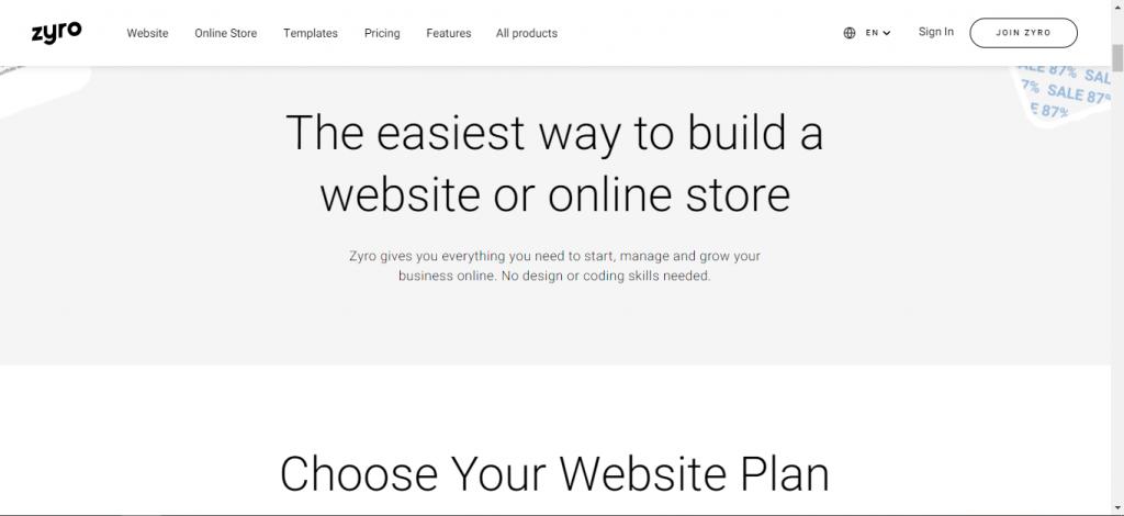 Zyro - Main page